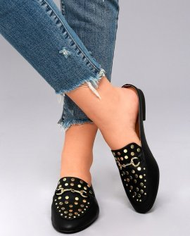 Louisa Black Studded Loafer Slides