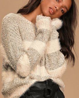 Love At First Snuggle Heather Grey Striped Knit Sweater