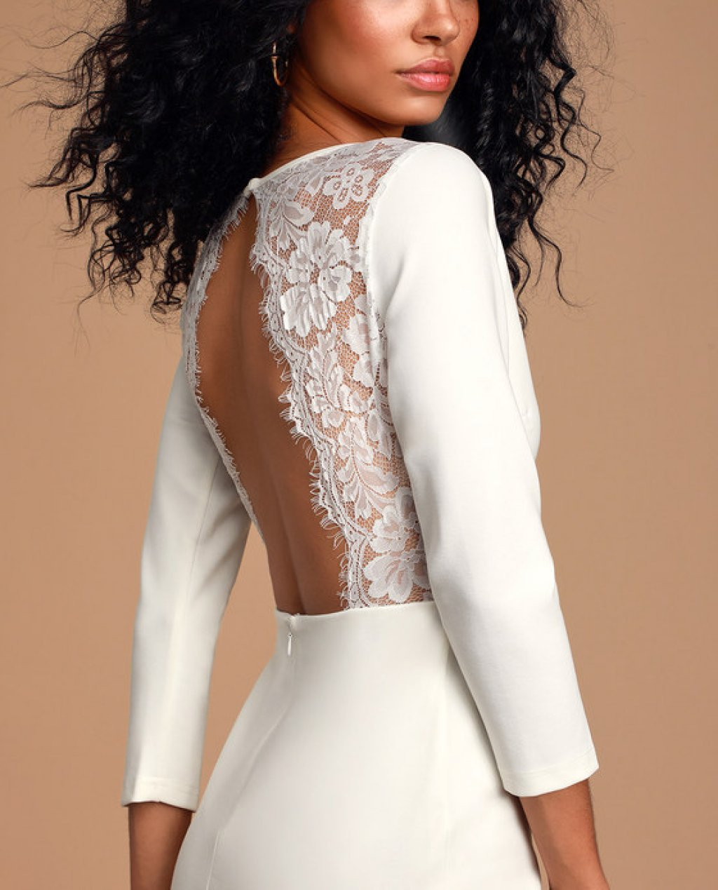 Love Language White Lace Bodycon Backless Dress