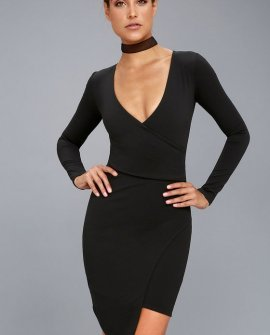 Love Me Completely Black Long Sleeve Bodycon Dress