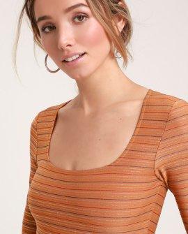 Love Me More Orange Multi Stripe Long Sleeve Bodysuit