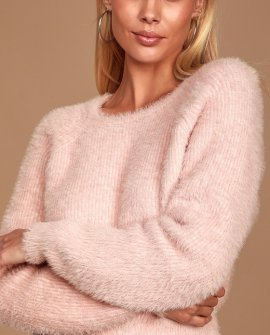 Love Me Sweetly Blush Pink Eyelash Knit Sweater