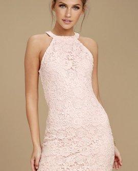 Love Poem Blush Pink Lace Dress