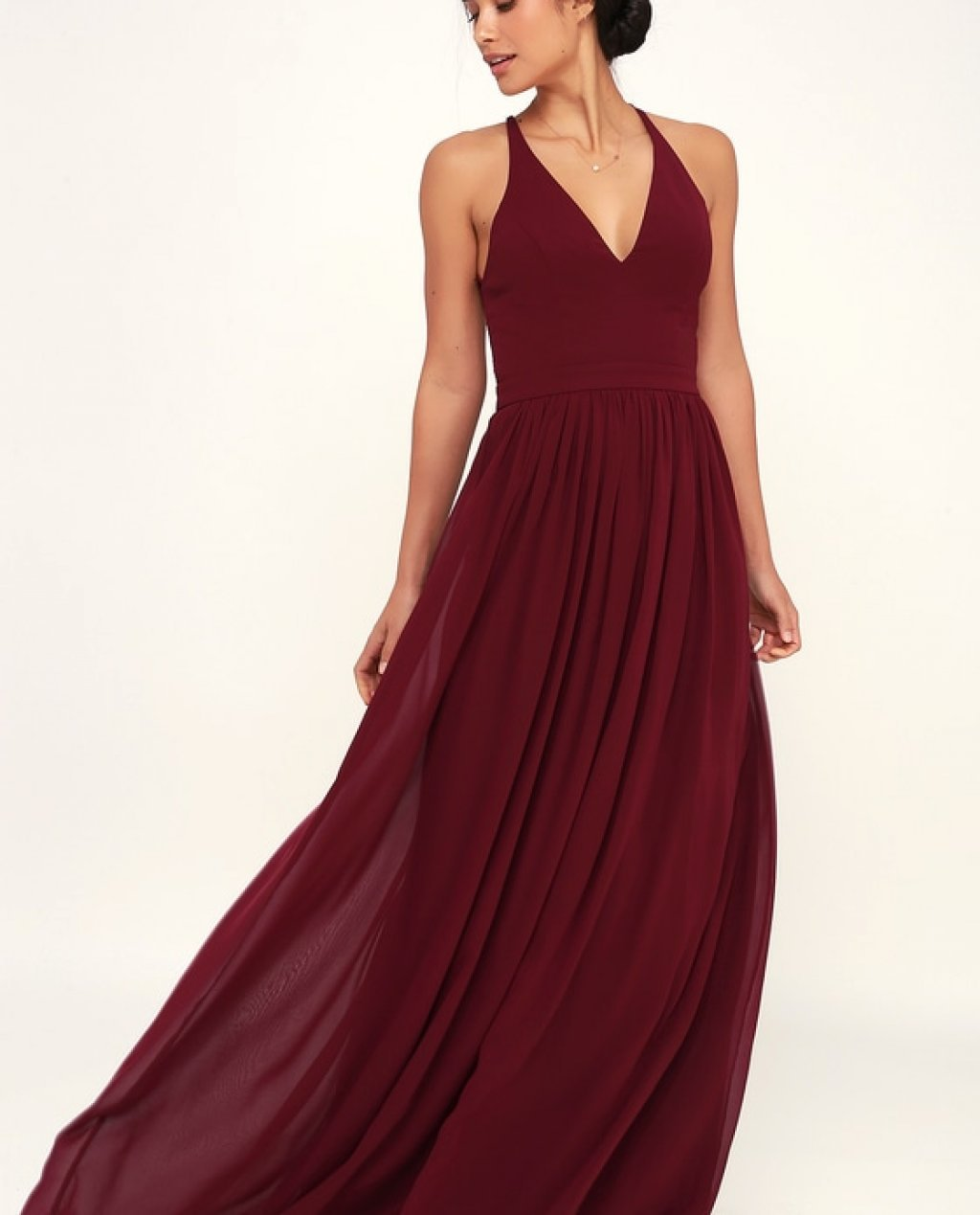 Love Spell Burgundy Lace-Back Maxi Dress