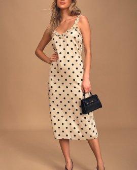 Love You Dots Cream and Black Polka Dot Ruffled Midi Slip Dress