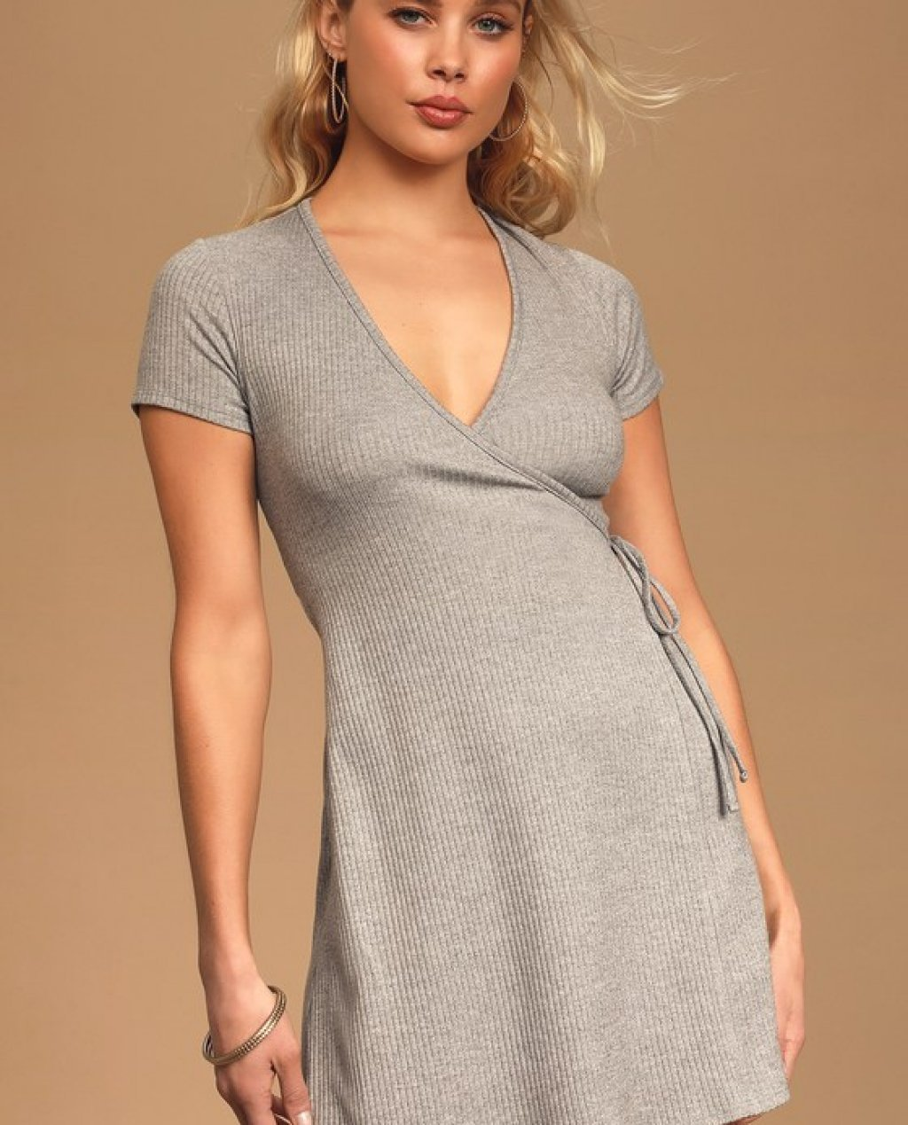 Love You Madly Heather Grey Ribbed Side-Tie Mini Dress