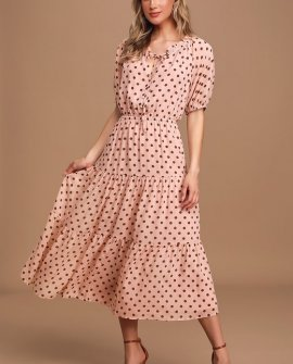 Love You Tier-ly Blush Pink Polka Dot Tiered Midi Dress