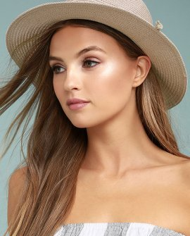 Love at Sunset Blush Pink Straw Fedora Hat