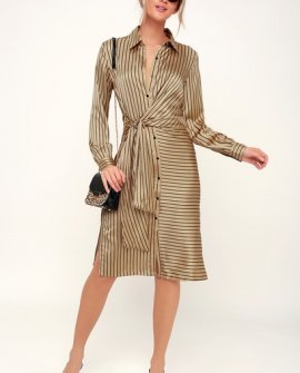 Love in Luxe Gold Striped Satin Tie-Front Long Sleeve Midi Dress