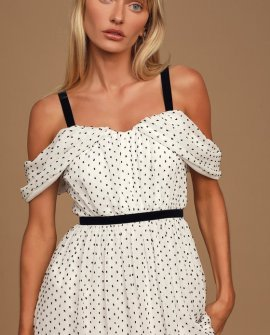 Love to Love Black and White Swiss Dot Cold-Shoulder Midi Dress