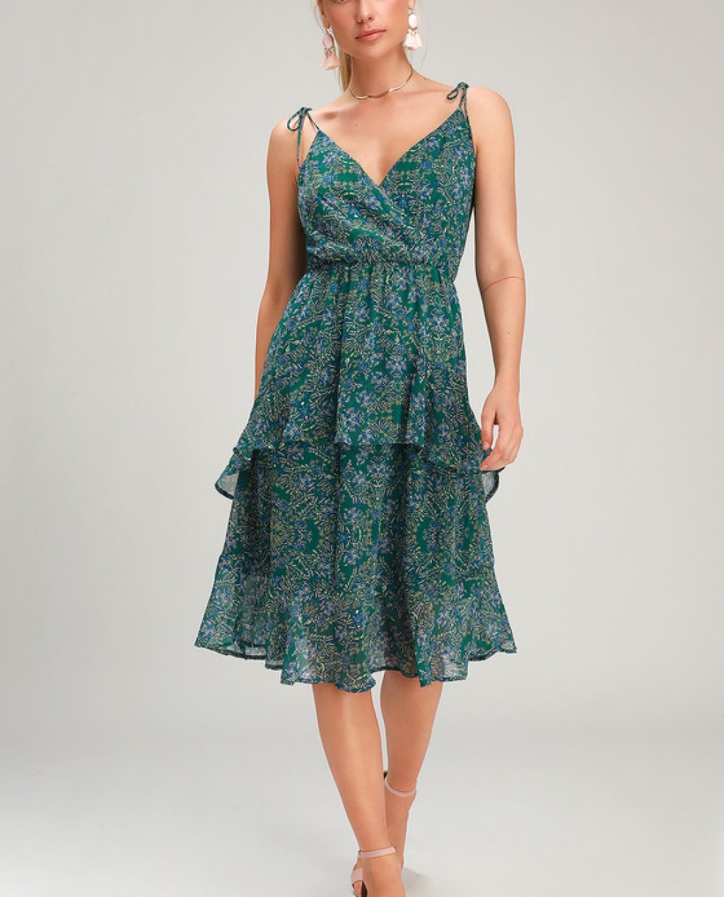 Loveable Lucille Green Floral Print Chiffon Midi Dress