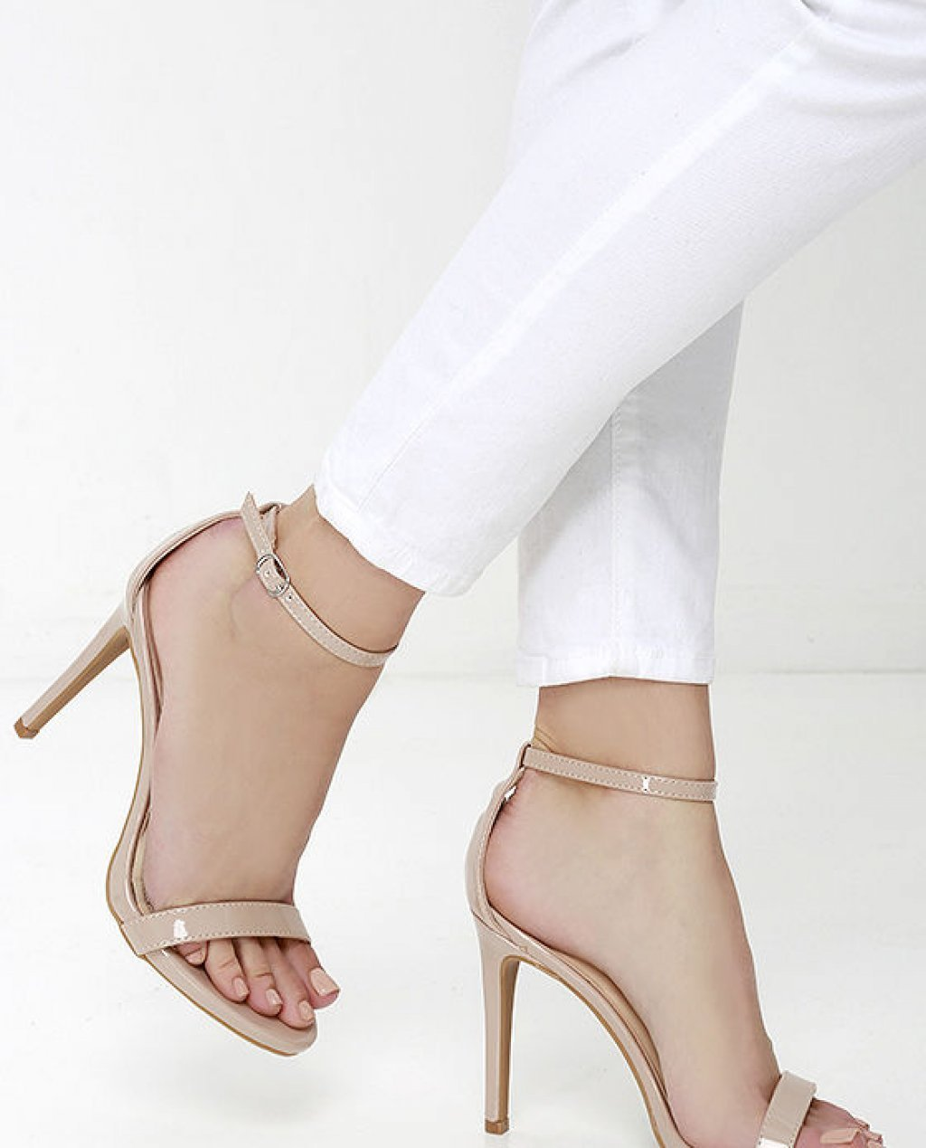 Loveliness Nude Patent Ankle Strap Heels