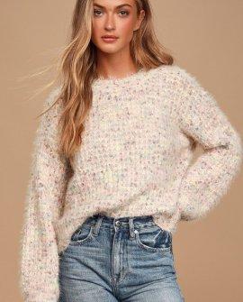 Lovely Time Blush Pink Multi Fuzzy Knit Sweater