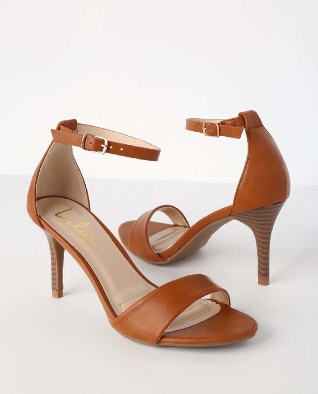 Lover Tan Stacked Ankle Strap Heels