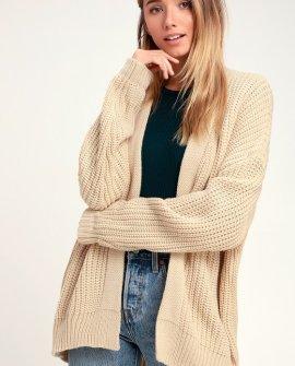 Luanne Beige Knit Cardigan