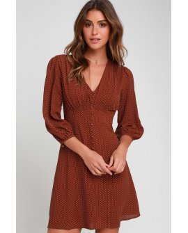 Lucia Brown Polka Dot Three-Quarter Sleeve Dress