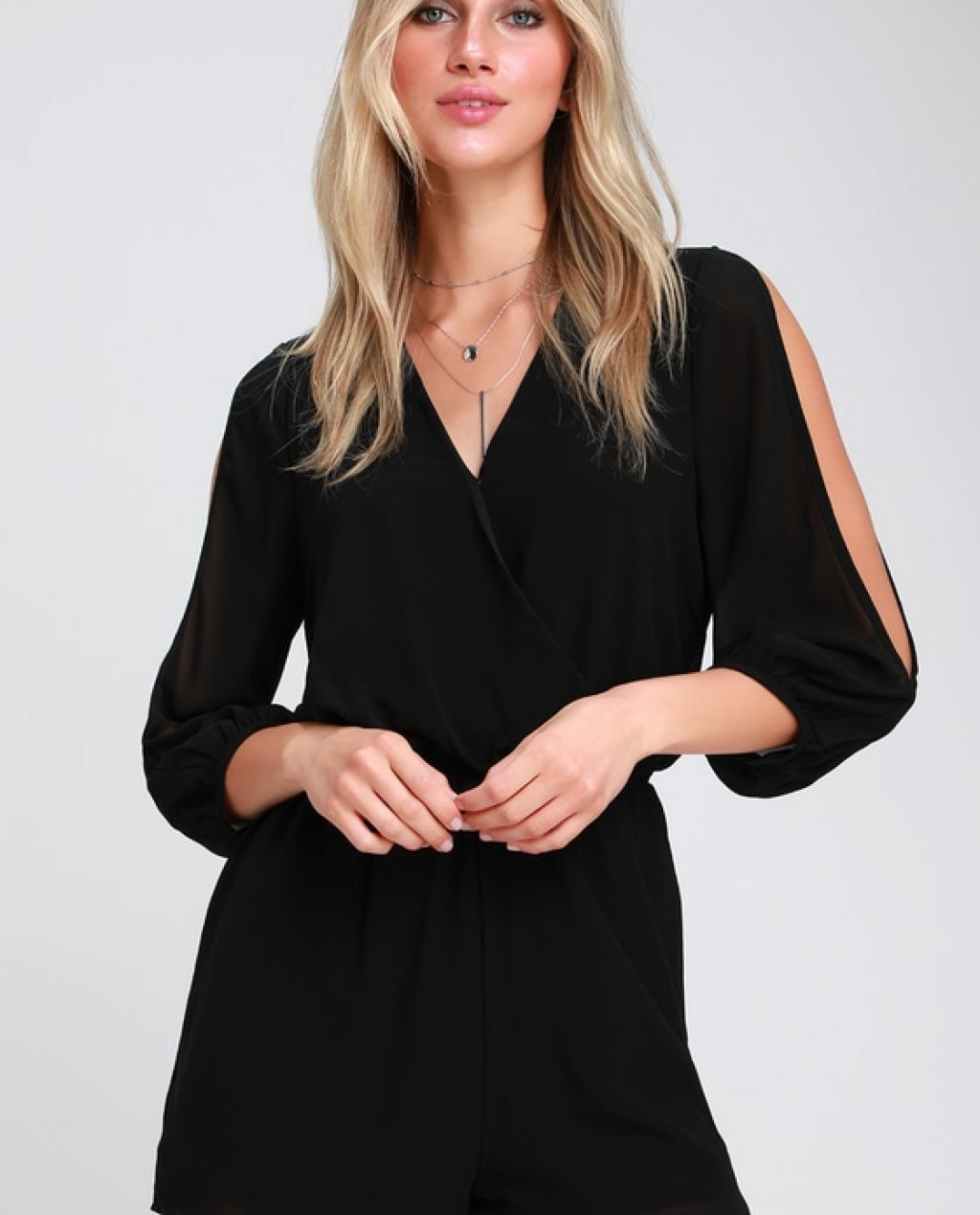 Luck and Love Black Long Sleeve Romper