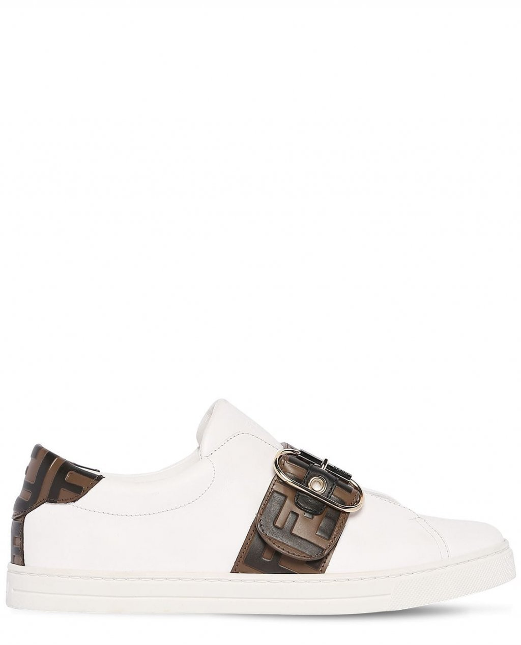 Fendi Logo Buckled Leather Sneakers