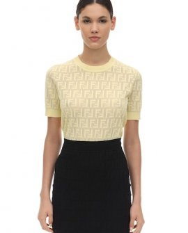 Fendi Logo Intarsia Knit Crop Top