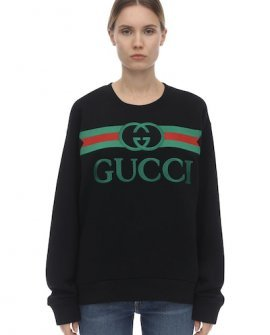 Gucci Embroidered Logo Jersey Sweatshirt