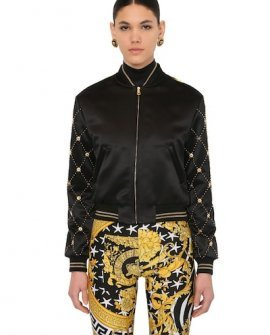 Versace Printed Faux Leather & Satin Bomber