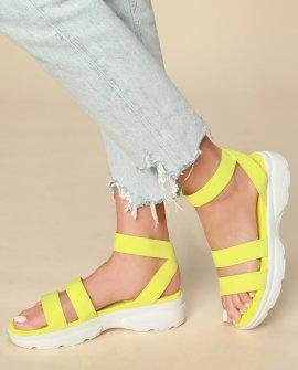 Lydia Neon Yellow Platform Sandals