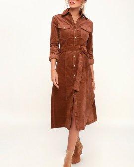Lylia Brown Corduroy Midi Shirt Dress (Final Sale)