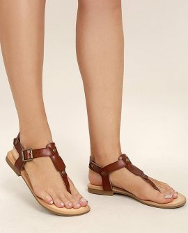 Madden Girl Matcha Cognac Thong Sandals