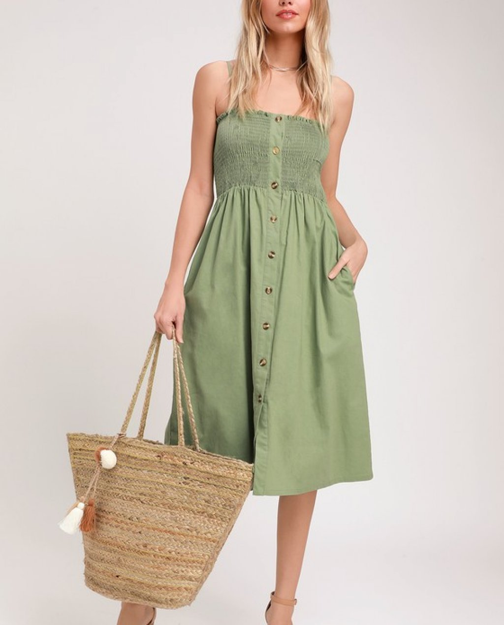 Made To Love Sage Green Smocked Button-Front Midi Dress