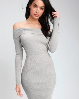 Mademoiselle Grey Off-the-Shoulder Bodycon Dress