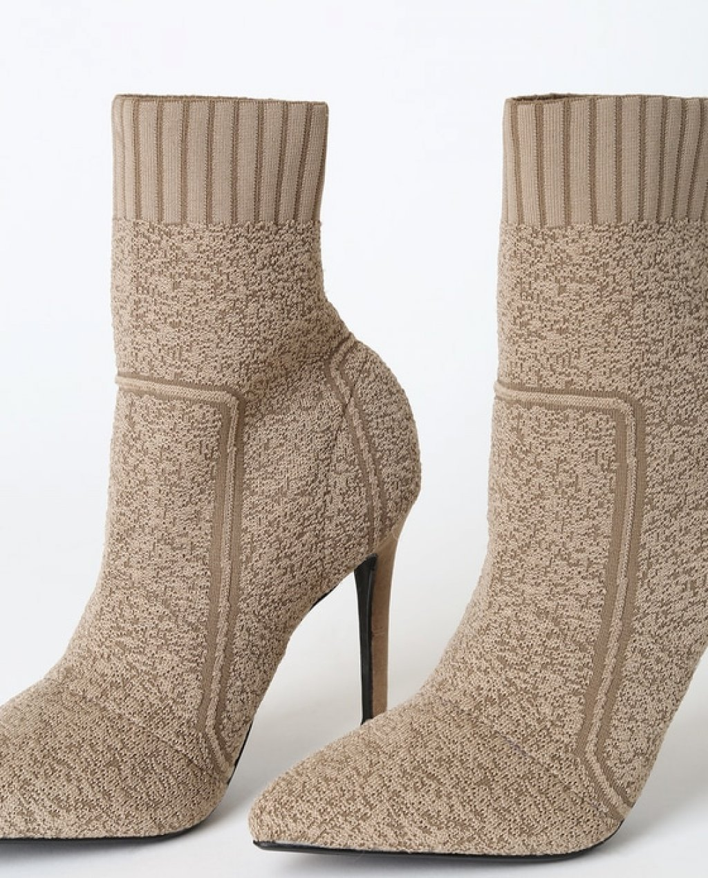 Magely Taupe Knit Mid-Calf High Heel Sock Boots