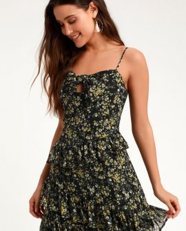 Main Squeeze Black Floral Print Chiffon Tie- Front Mini Dress