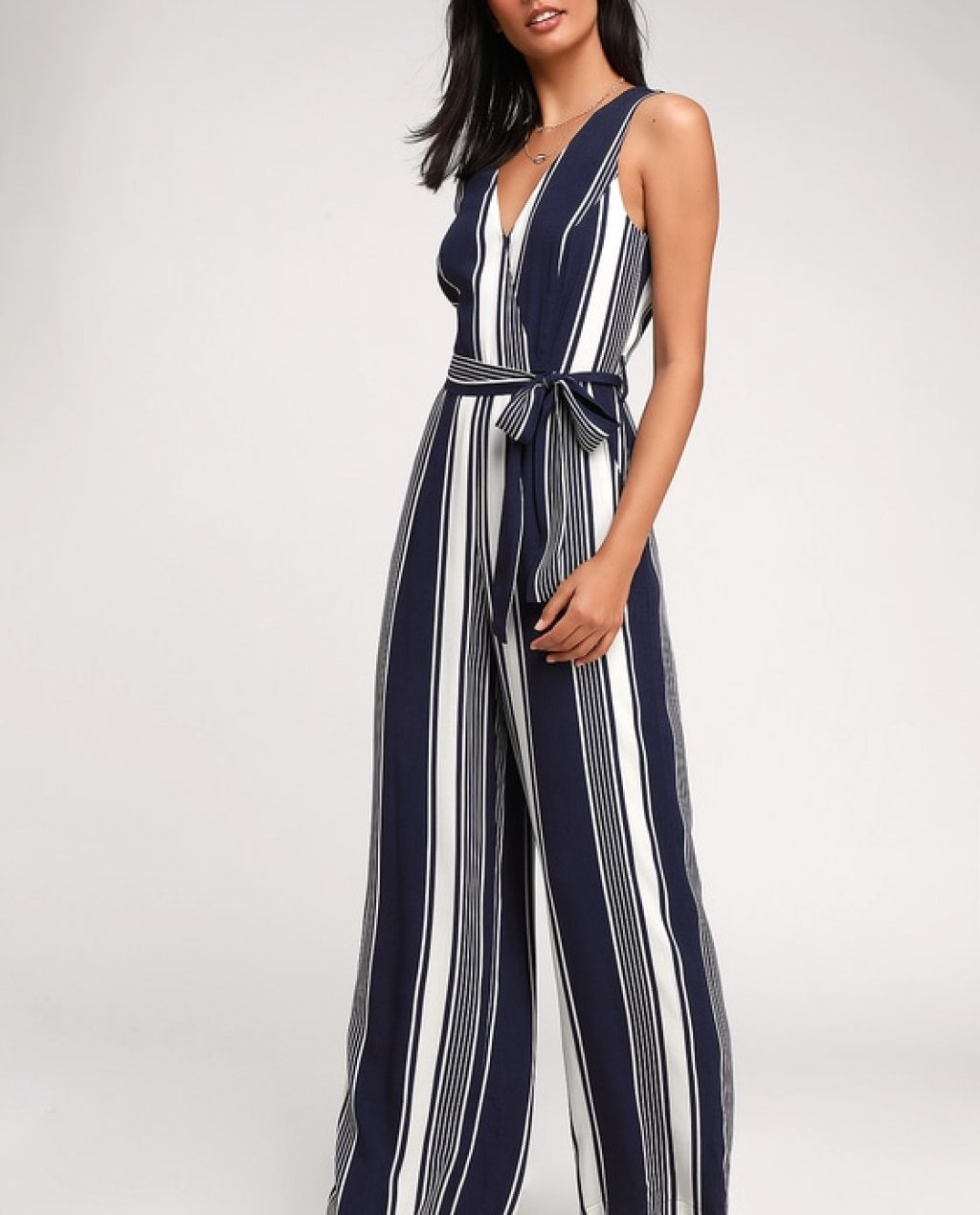 Maisee Navy Blue and White Striped Wide-Leg Jumpsuit