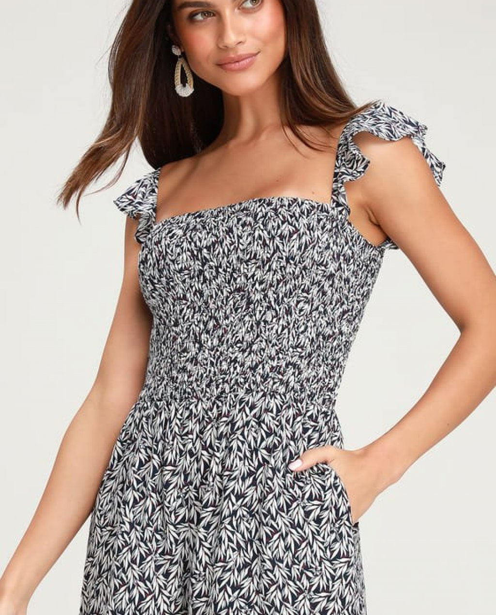 Majorca Navy Blue and White Floral Print Off-the-Shoulder Romper