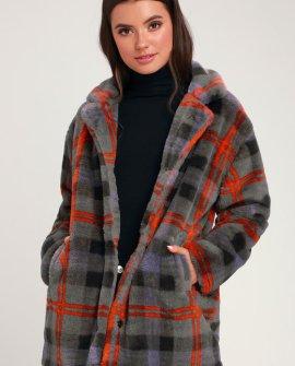 Make A Statement Grey Plaid Faux Fur Coat