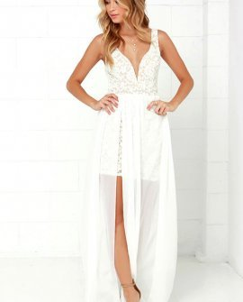 Make Way for Wonderful Off White Lace Maxi Dress