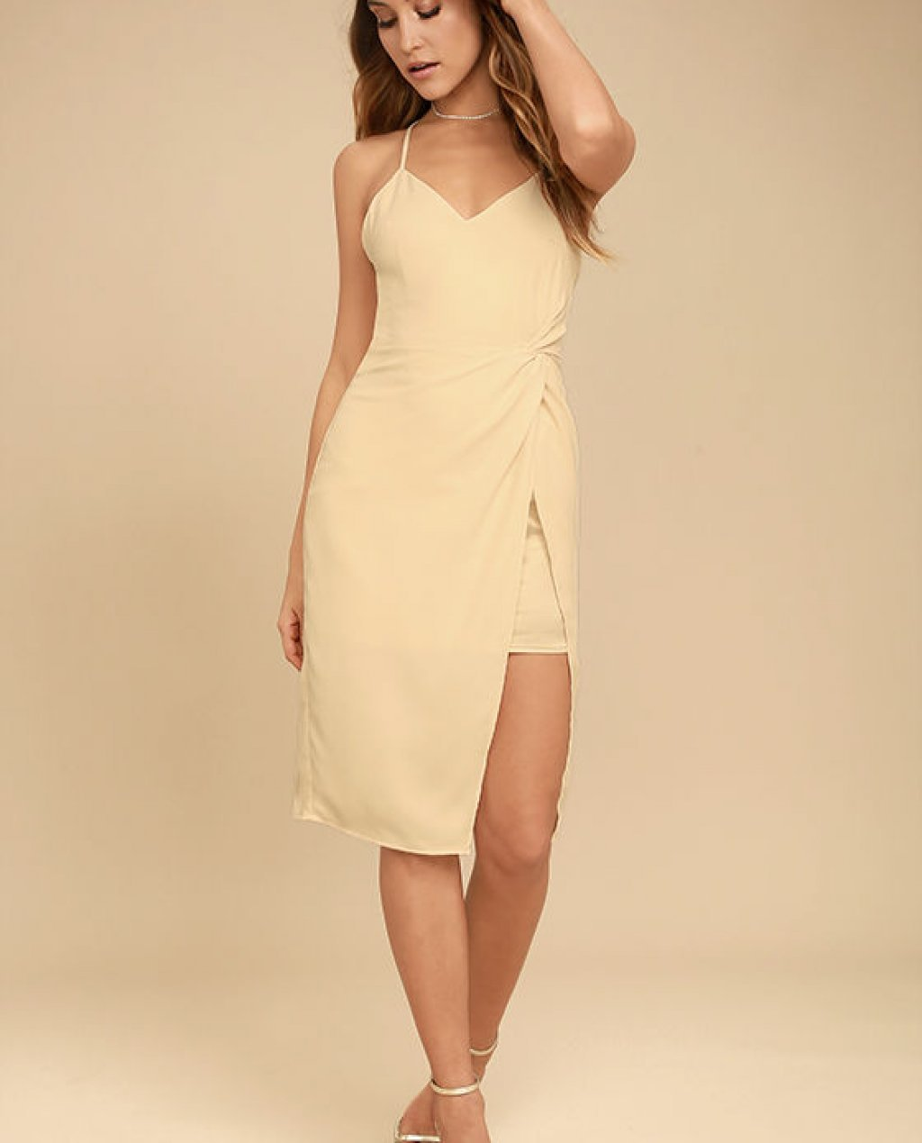 Making Eyes At You Beige Midi Dress
