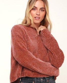Malia Rusty Rose Chenille Backless Sweater