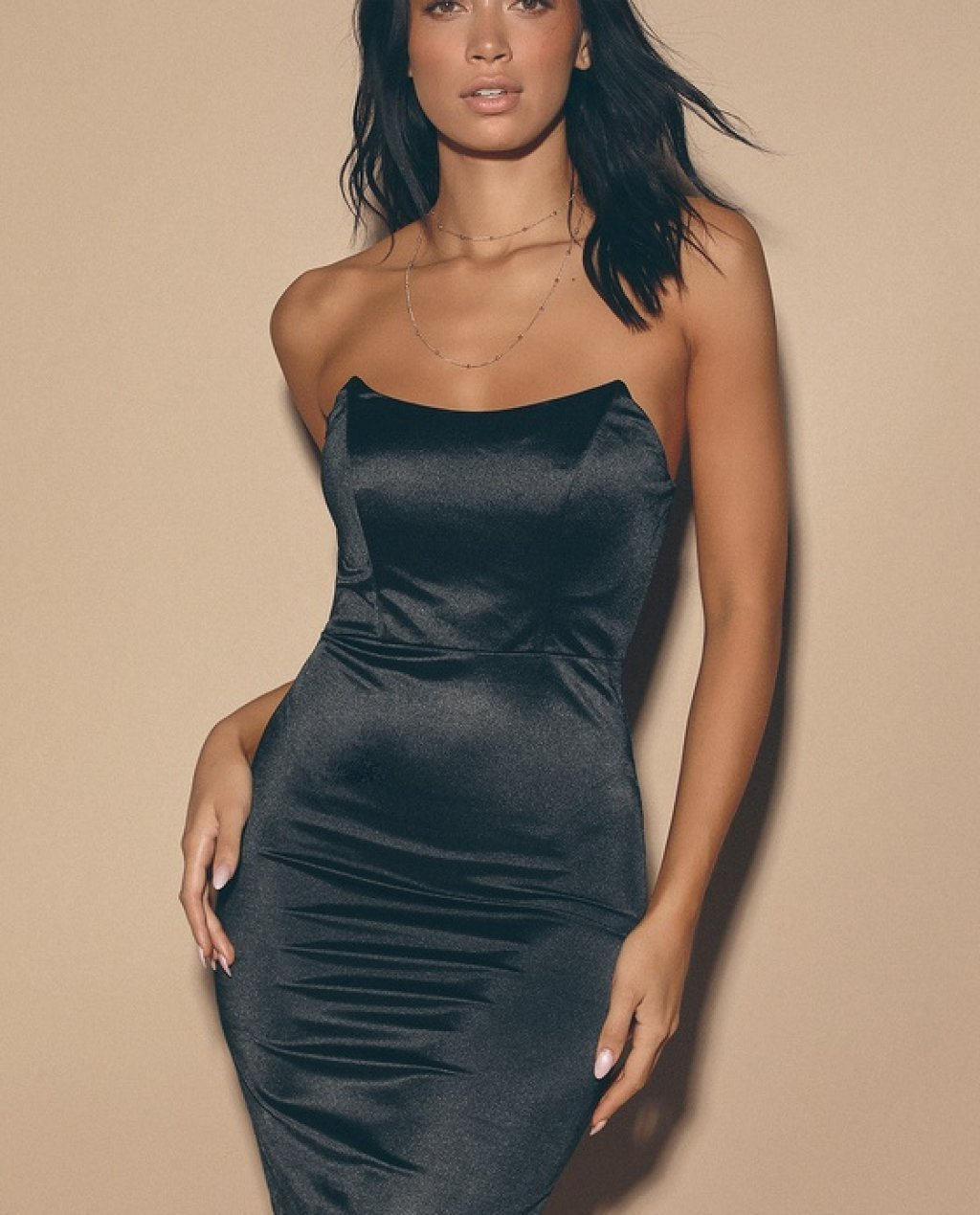 Malory Black Satin Strapless Bodycon Mini Dress