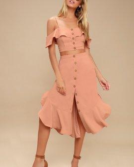 Malta Mauve Pink Off-the-Shoulder Button-Up Two-Piece Dress