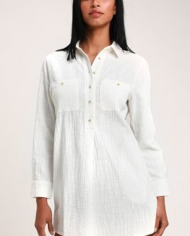 Malta White Long Sleeve Shirt Dress