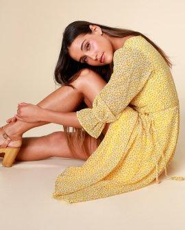 Malva Yellow Floral Print Three-Quarter Sleeve Wrap Midi Dress