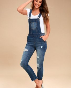 Marcy Medium Wash Distressed Denim Overalls