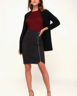 Margeaux Washed Black Suede Pencil Skirt