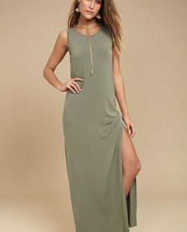 Marianna Olive Green Sleeveless Maxi Dress