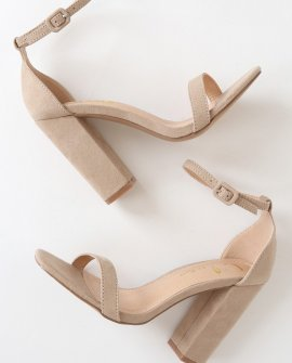 Mariayan Natural Suede Ankle Strap Heels
