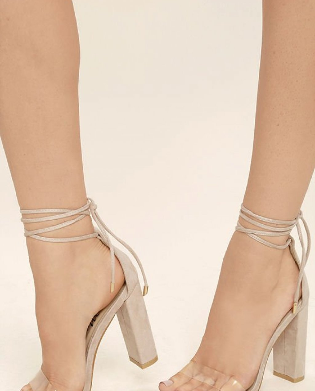 Maricela Natural Suede Lace-Up Heels