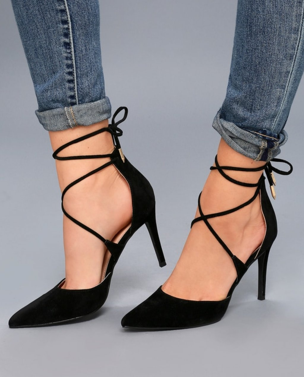 Marie Black Suede Lace-Up Heels