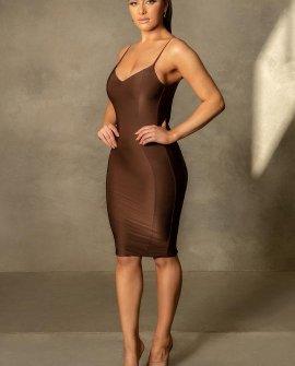 Marilyn Thin Strap Back Bodycon Midi Dress