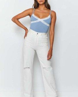 Marla Lace Insert Bodysuit Blue